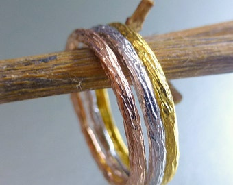 Textured stacking rings. 14k gold bands. 3 stacking rings.  Bark textured stacking rings.