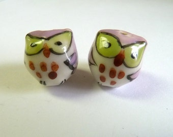 Pink & Green Baby Owls Beads