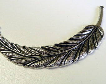 Large Silver Feather Connector Charm