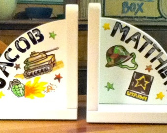 Childrens Bookends Handpainted and Personalized Army Theme Bookends