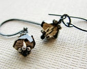 Smokey quartz earrings sterling silver gemstone earrings rustic neutral - Sepia