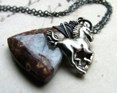 Wire wrapped horse necklace Frog eye jasper and sterling silver - Ridge Runner