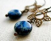Jasper earrings brass filigree charms ocean blue waves romantic earrings - Gibraltar