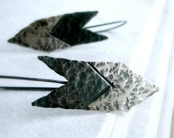 Arrow earrings hammered sterling silver earrings two-tone oxidized tribal rustic modern - Huntress