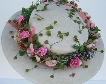 Antique Vintage Edwardian Floral Panama Women's Hat