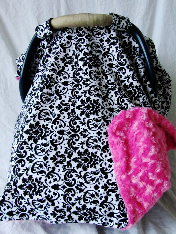 winter baby car seat cover canopy for girl in pink and black. Black Bedroom Furniture Sets. Home Design Ideas
