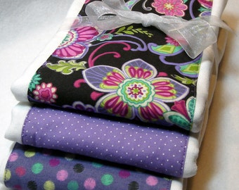 Lavender and Pink Floral Premium 6-Ply Burp Trio