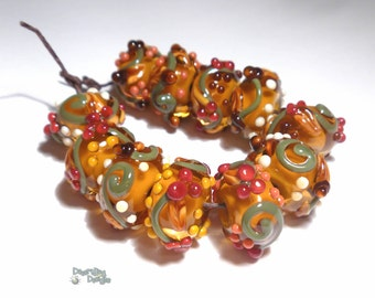 NATURAL Lampwork Beads Handmade Autumn Colors Golds Olive Reds Browns Ivory Nuts Vines Berries  Set of 11