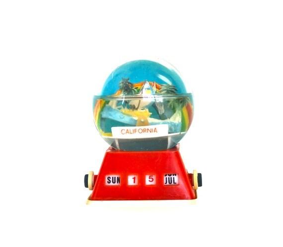 California on My Mind - Vintage Perpetual Calendar - Vintage Souvenir - Vintage Bank - California Snow Globe Bank