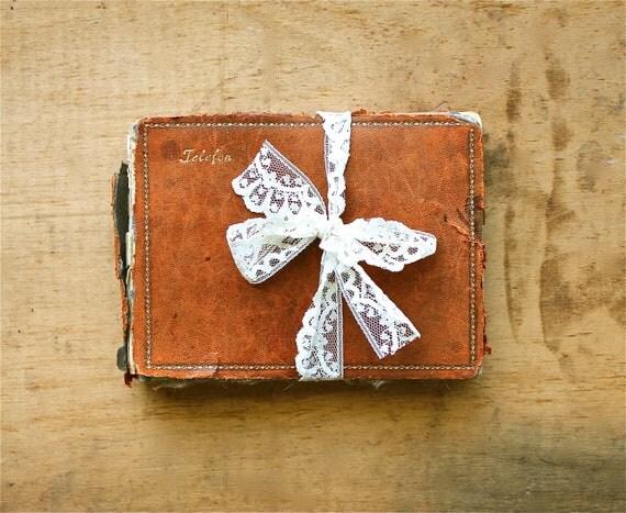Old Friends - Antique Adress Book - Handwritten European Leather Bound Address Book