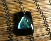 Dichroic Glass Fused Black and Silver/Blue Pendant