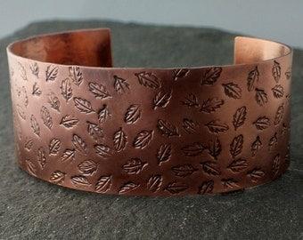 Stamped Copper Cuff Bracelet- Leaves
