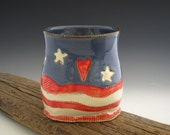Americana Vase - Pottery Vase - Rustic Flag - Oval Vase - by DirtKicker Pottery