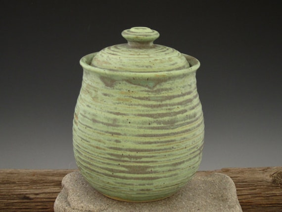 Large Lidded Jar in Patina Green - by DirtKicker Pottery