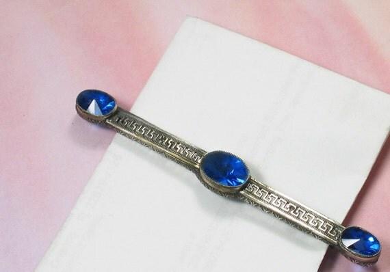 Vintage Art DECO BAR PIN, Greek Keystone Pierced Design, 4 Inches Long