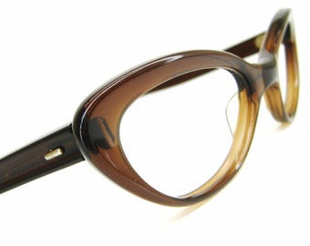 Vintage Brown Cat Eye Eyeglasses or Sunglasses Frame France