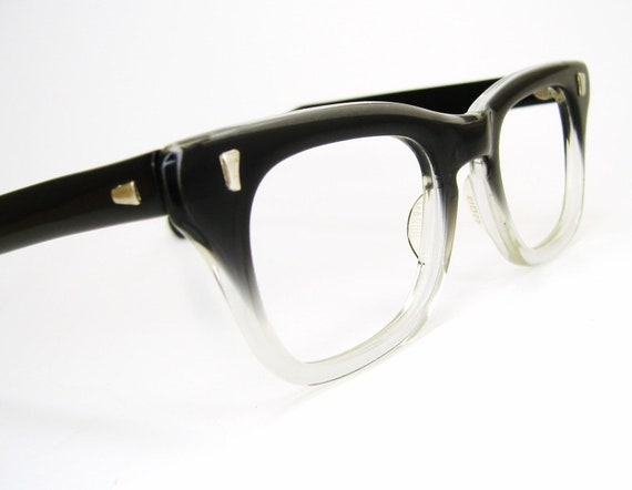 Vintage Mens 1950s Horn rim Glasses Eyeglasses Eyewear Frame Fades Never Worn