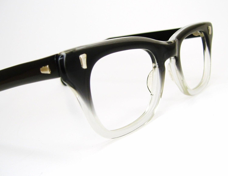 Vintage 50s Eyeglass Frames Mens : Vintage Mens 1950s Horn rim Glasses Eyeglasses Eyewear Frame