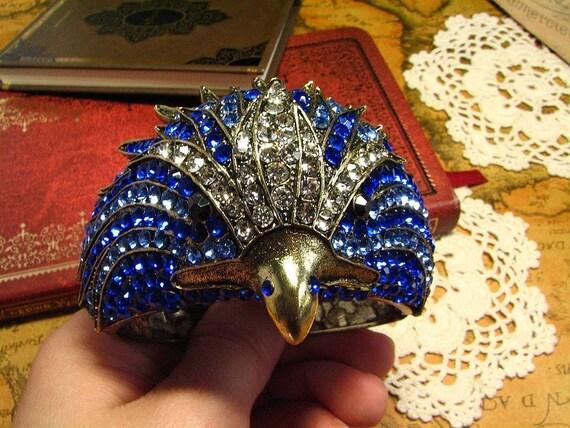 Huge Ram Blue Rhinestone Clamper Bracelet