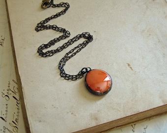 Orange Glass Nugget Necklace
