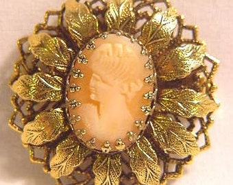 Vintage Cameo Pin, Pendant with Leaf Setting