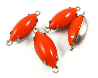 4 - Vintage Glass Navette Stones in 2 Rings Silver Antique Brass Prong Settings - Opaque Red - 15x7mm