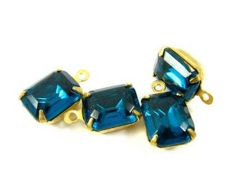 4 - Vintage Octagon Glass Stones in 1 Ring Closed Back Brass Prong Settings - Zircon Blue - 10x8mm
