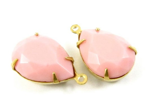 2 - 15x11mm  Vintage Pear Shaped Stones in 1 Ring Closed Back Brass Prong Settings - Opaque Pink.