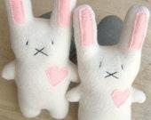 Handmade White Rabbit plush bunny-Stuffed Animal Bunny-Cute Stuffed Bunny-Tiny White Plush Rabbit-child friendly--Child gift-Classic plush