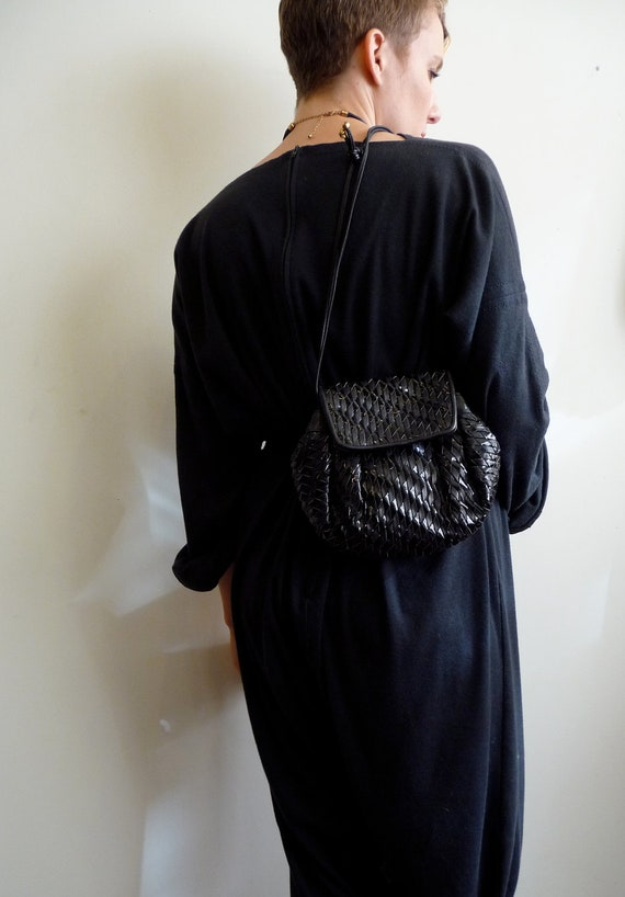 Black woven Leather and Patent Leather Purse
