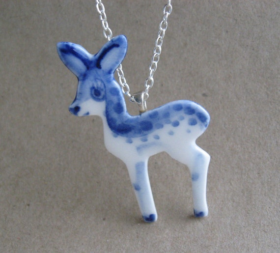 Fawn necklace  - Handpainted Blue Delft Porcelain