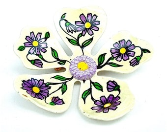 Vintage Boho Flower Brooch Hand Painted Marked West Germany