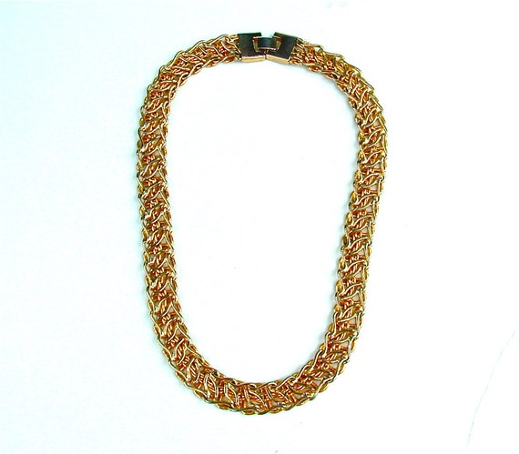 Vintage Gold Tone Chain Choker Cleopatra Statement Necklace, FREE US Shipping