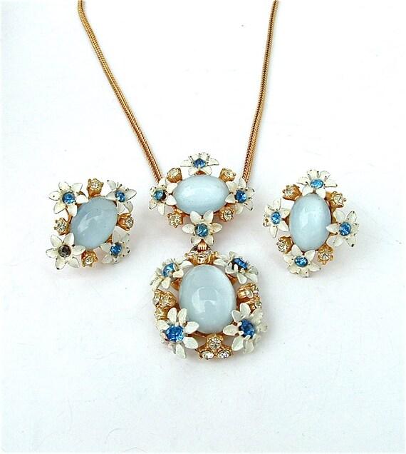 Flower Necklace Vintage Luminous Sky Blue Moon Glow Demi Parure Jewelry Set, Free Domestic Shipping