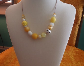 CLEARANCE SALE!!  Sunny and Lemony Adjustable Beaded Necklace--Metal Free