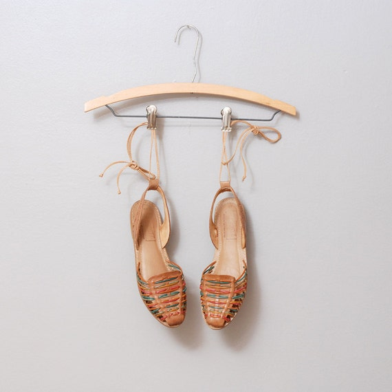1980s Huaraches - Woven Leather Flats with Ankle Strap Size 8.5