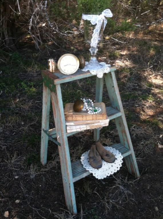 Vintage Jadeite Wooden Step Ladder Stool Repurposed