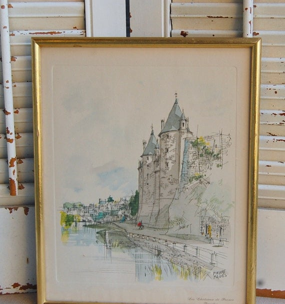 Vintage Print French Chateaux  Josselin Framed by Pierre Pages