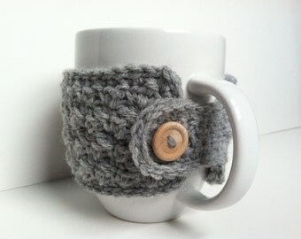 Crochet Coffee Cup Cozy - Heather Gray Eco Friendly Reusable Gift Under 10 Gift For Women Gift For Coffee Lovers Hot chocolate Cup Cozy
