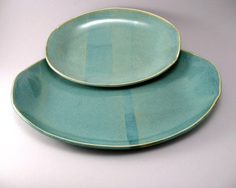 Stoneware Oval Serving Platters-Pottery Tray-Dinnerware-Tableware-Teal-Handmade-Set of 2