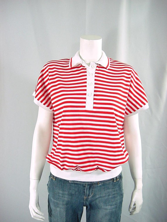 1980s Vintage Red and White Striped Shirt Nautical Top - Large