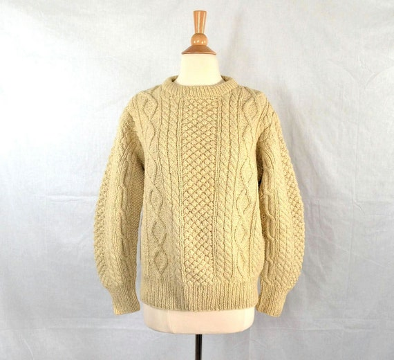 Fisherman Knit Sweater Pattern : Vintage Irish Fisherman Sweater / Hand Knit by BloomStreetVintage