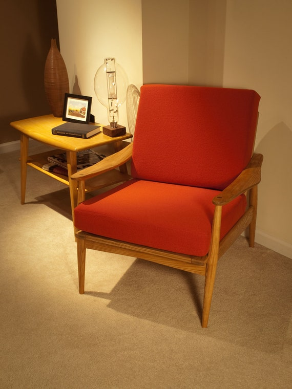 Orange Danish Modern armchair  - reserved for Valentina