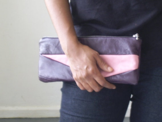 RESERVED FOR CATH, Sale, purple and pink recycled leather clutch bag, leather long pouch, plum leather pencil case,