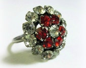 Vintage Red Rhinestone Ring - Size 8 - Cocktail Ring - Costume Ring - Dinner Ring - Uncas - 1950s