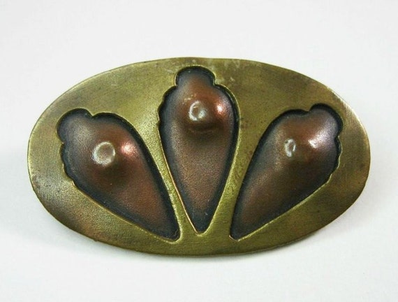 RESERVED ON HOLD for customer J......Antique Arts and Crafts Movement Pin Brooch Copper Brass  Boho C1905