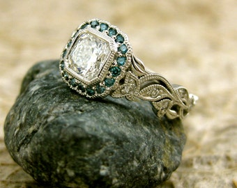 Radiant Cut Diamond Engagement Ring in Platinum with Teal Turquoise Blue Diamonds in Flowers and Leafs on Vine Setting Size 5