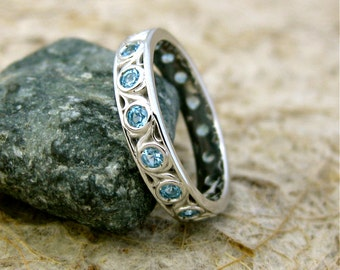 Blue Topaz Wedding Ring in 14K White Gold with Floral Scroll Pattern All Around Size 6