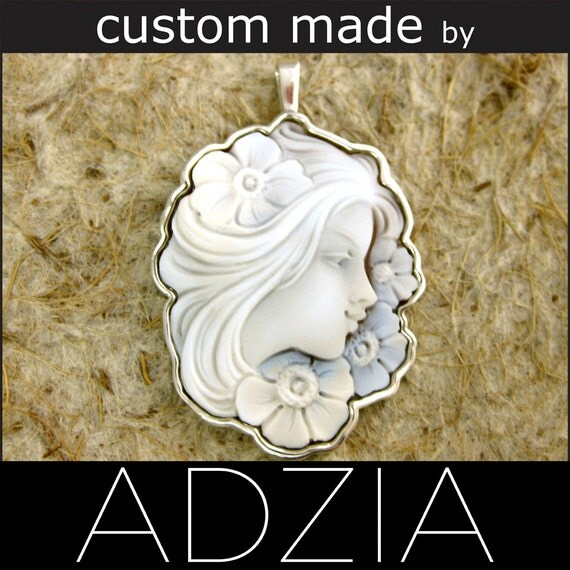 Cameo Pendant in Custom Sterling Silver Frame with Bail - Reserved for SARAH - Final Installment