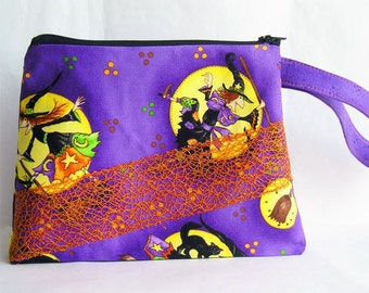 Halloween Cosmetics Bag Knitting Notions Zipper Pouch Witches & Cats, Purple Orange Yellow Larger Size